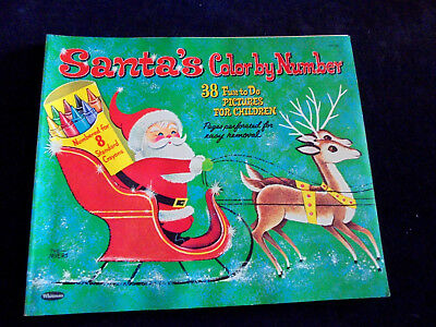 $ CDN20.06 • Buy Vintage Christmas, Santa's Color By Number Book, U.S.A. Book 13.25 X11.25 , 1962