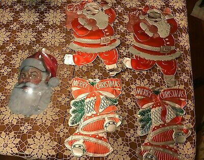 $ CDN33.46 • Buy Vintage Christmas Foil Decorations SANTA CLAUS & MERRY CHRISTMAS BELLS Lot Of 5