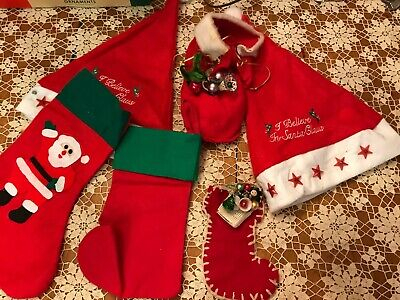 $ CDN26.76 • Buy Vintage Christmas Felt Decorations STOCKINGS & HATS Lot Of 6