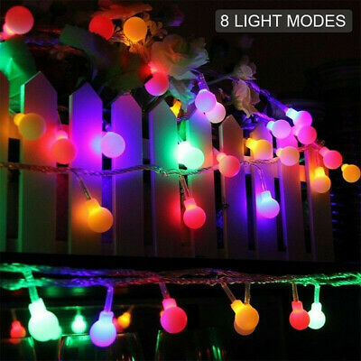 Outdoor Mains Powered Retro Bulb 100LED 10M Ball Fairy Globe String Lights Decor • 10.90£