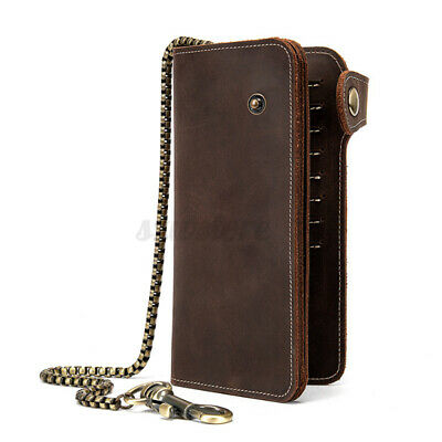 UK Long Genuine Leather Chain Wallet Business Motor Biker Purse Cash Card Holder • 18.04£