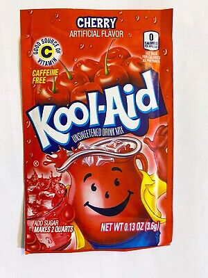 24 Cherry Kool-Aid Drink Mix Gluten Free Unsweetened Fresh BB 2021 • 6.77£