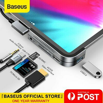 AU56.99 • Buy Baseus USB C HUB To HDMI USB 3.0 TF/SD 3.5mm AUX PD For IPad Pro MacBook Surface