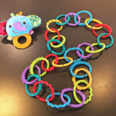 24X Rainbow Teether Ring Links Plastic Baby Kids Infant Stroller Play Mat Toys - • 5.49£