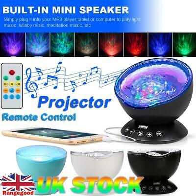 Rotating Ocean Wave Music Projector LED Light Remote Control Lamp Color Changing • 9.29£