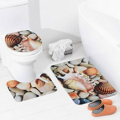 3Pcs Non-slip Soft Bath Pedestal Mat Toilet Lid Carpet Bathroom Washable Rug Set • 7.55£