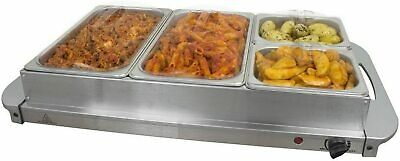 Professional Food Warmer Buffet Server Hot Plate 4 Tray Section Adjustable 300W • 39.99£