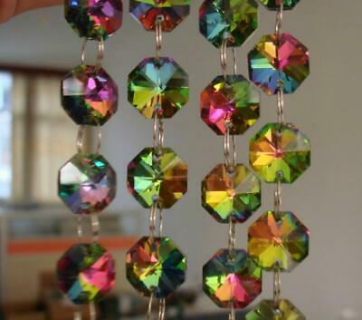 £34.37 • Buy 10m Rainbow Color Crystal Octagon 14MM Bead Chandelier Lamp Parts Chain Garland