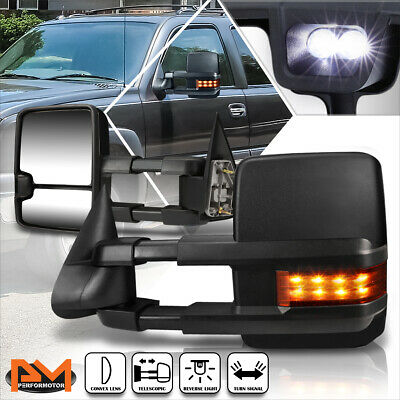 $121.89 • Buy For 99-06 Silverado/Sierra Extendable Black Towing Mirror+LED Signal Lamp Pair