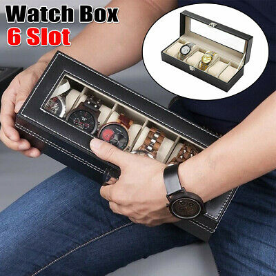 £8.77 • Buy Mens 6 Grids Leather Watch Display Case Jewelry Collection Storage Holder Box
