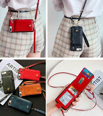 AU11.61 • Buy Zipper Crossbody Case Card Holder Wallet Protective Leather Purse With Strap