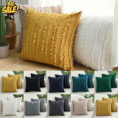 Luxury Tassel Soft Cotton Throw Waist Cushion Cover Square Pillow Cases Sofa Pad • 7.99£