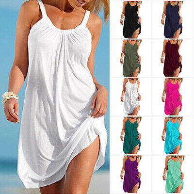 AU16.99 • Buy Womens Summer Holiday Beach Cover Up Ladies Casual Strappy Sundress Mini Dress