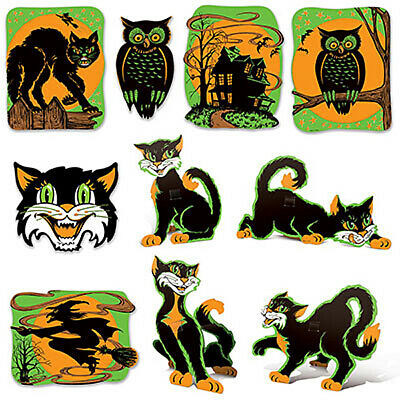 $ CDN15.23 • Buy 10 Retro Cutout Fluorescent Halloween Decorations Vintage Style By Beistle