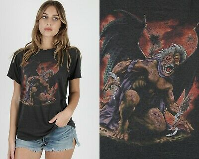 $ CDN159.19 • Buy Vintage Just Brass 3D Emblem Dragon Fantasy Sci Fi Cartoon THIN  50 50 T Shirt