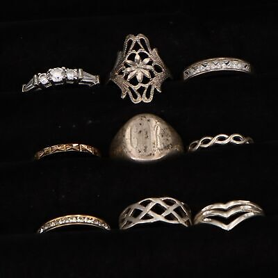 $ CDN10.58 • Buy VTG Sterling Silver - Lot Of 9 Assorted Gemstone & Solid Rings NOT SCRAP - 21.5g