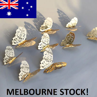 AU6.90 • Buy 12pcs 3D DIY Wall Decal Stickers Butterfly Home Room Decor Decoration *AU STOCK*