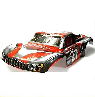 73912 RC 1/8 Scale Monster Truck Truggy Body Shell Cover Red Grey Short Course • 26.99£