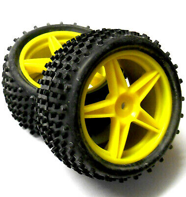£13.99 • Buy 06026 1/10 Scale RC Nitro Buggy Rear Wheels And Tyres X2 Yellow 5 Spoke Plastic