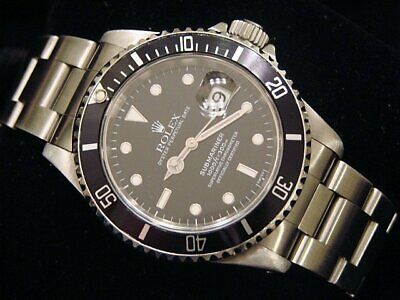 $ CDN10362.98 • Buy Mens Rolex Submariner Stainless Steel Watch Sub Date Black Dial & Bezel 16610