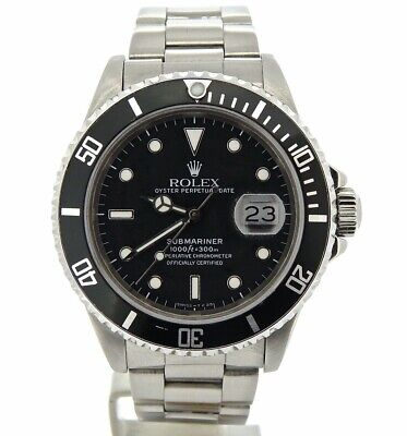 $ CDN10362.98 • Buy Mens Rolex Submariner Date Stainless Steel Sub Watch Black Dial & Bezel 16610