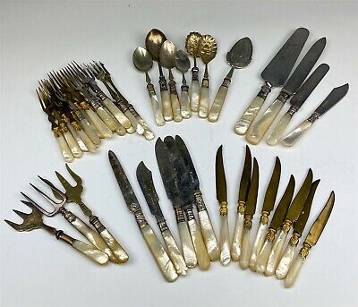 $ CDN30.02 • Buy Estate Collection Lot 42 Sterling Silver Plate Mother Pearl Handle Flatware 007