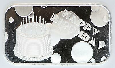 2020 Happy Birthday 999 Silver Medal 1 Oz Art Bar Ingot Gift BDay Cake Balloons • 35.73£