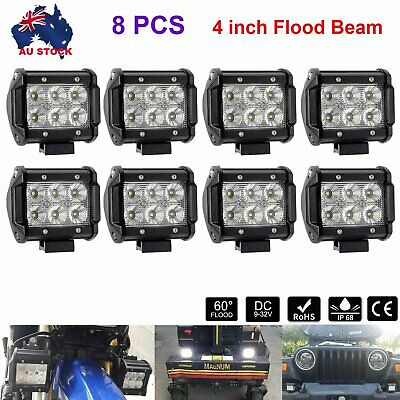 AU47.99 • Buy 8x 4inch LED FLOOD Work Light Bar Driving Reverse Lamp SUV Offroad 4WD 4x4 Jeep