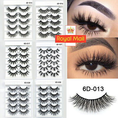 SKONHED 5Pair 3D Long Mink Hair False Eyelashes Thick Cross Lashes Wispy Fluffy/ • 2.99£