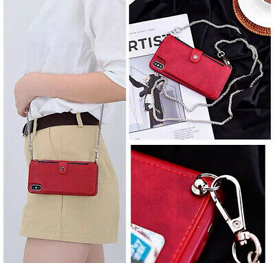 AU10.45 • Buy Zipper Crossbody Case Card Holder Wallet Protective Leather Purse With Chain