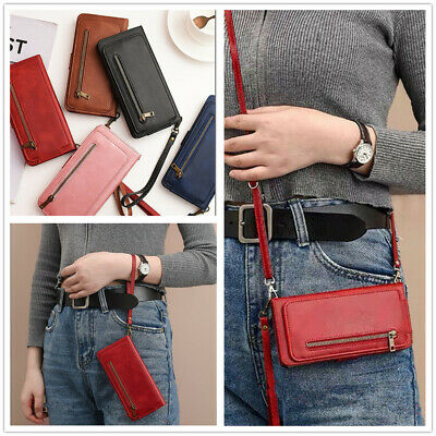 AU14.02 • Buy Shoulder Bag Holder Card Wallet Stand With Strap PU Leather Case Cover For Phone
