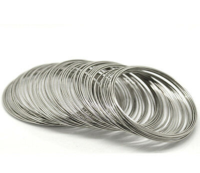 Memory Wire - 200 Loops - Silver Tone - 40-45mm - 0.8mm Gauge - J17927W • 3.59£