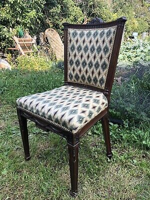 £95 • Buy Antique Maple & Co Upholstered Hall Chair / Bedroom Chair Tapestry Peacock Blue