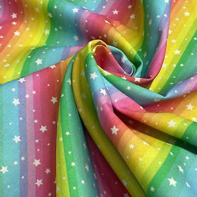 $8.27 • Buy 100% Cotton Little Johnny Rainbow Stars Fabric, Space, Quilting