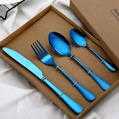 4Pcs Colourful Iridescent Spoon Forks Rainbow Stainless Steel Cutlery Set • 6.89£