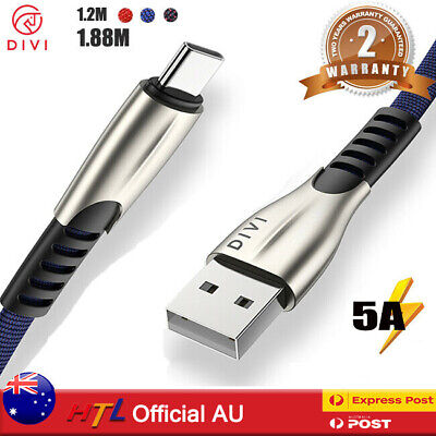 AU12.99 • Buy 5A Super Fast USB C Data Charging Cable For Type C Samsung Huawei Xiaomi LG