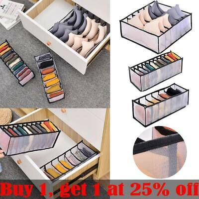 Foldable Underwear Storage Box Clear Compartment Underpant Organizer Drawer Home • 3.99£