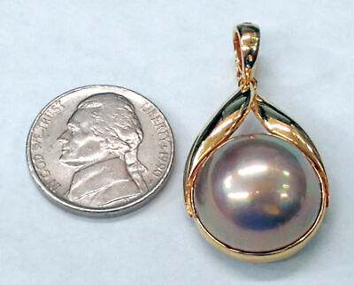 $750 • Buy 17.5mm Lavender Mabe Pearl Set In 14kt Yellow Gold Pendant With Enhancer