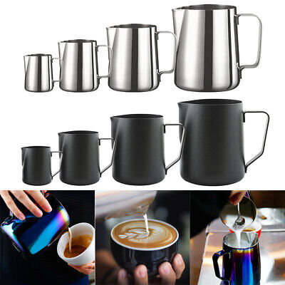£9.21 • Buy Milk Frothing Jug Stainless Steel Frother Coffee Latte Container Metal Pitcher