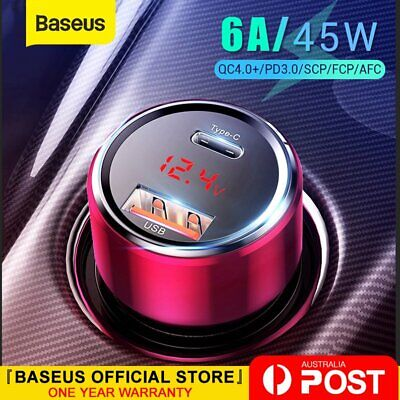 AU19.99 • Buy Baseus 45W Car Charger Dual USB Type-C PD QC4.0 Quick Charge For Samsung IPhone