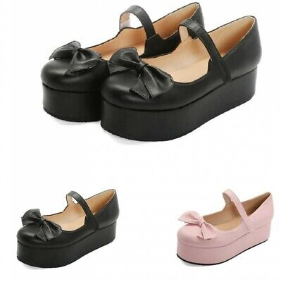 Sweet Women's Girls Lolita Bowknot Mary Janes Strap Cosplay Casual Shoes Ting1 • 30.55£