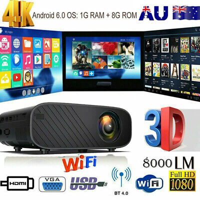 AU158.88 • Buy 4K 3D WiFi Wireless LED Projector Android 6.0 BT 1080P HD Smart Home Theater AU