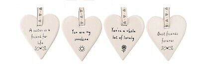 White Ceramic Sentiment Hanging Heart Decoration Plaque Tag Sister Sunshine  • 6.70£