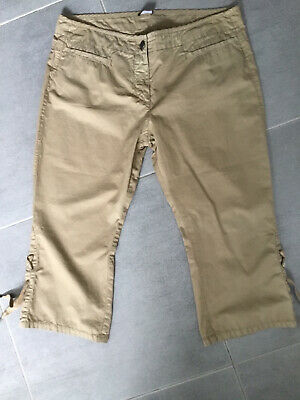 Calvin Klein Khaki Cropped Trousers Cut Offs Pedal Pushers Summer Holiday S 30w • 5.99£