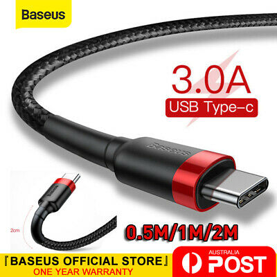 AU7.99 • Buy Baseus USB To Type C USB-C Cable Quick Charger Data Cord For Samsung S20 Huawei