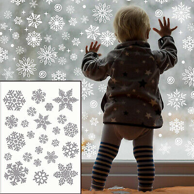£2.97 • Buy 72 Large&Small Christmas Snowflake Window Stickers Silver Shiny Wall Glass Cling