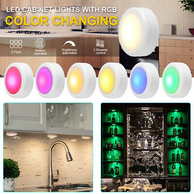 Battery LED Puck Stick On Lights With Remote Control Under Closet Cupboard Light • 9.35£