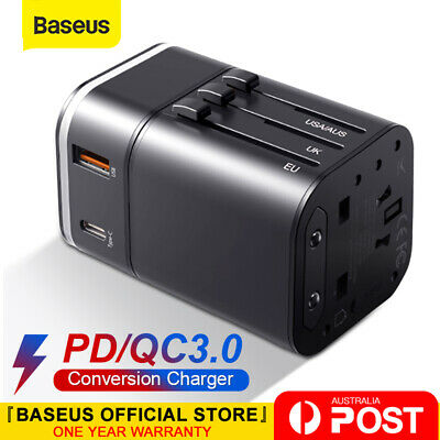 AU21.84 • Buy Baseus PD 18W Travel Adapter Universal USB International Charger Plug Converter