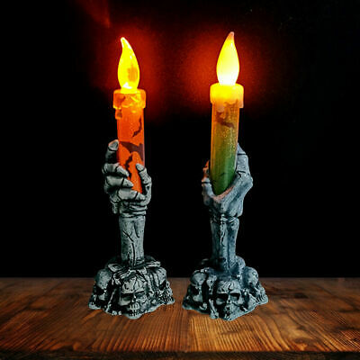 Halloween Skeleton Hand Led Lamp Candle Flame Light Stand Lamp Party Decoration • 3.85£