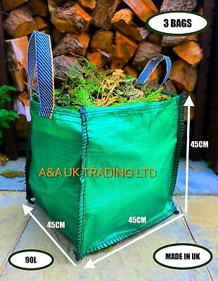 £14.99 • Buy Garden Waste Bag (3 Bags) 90L Refuse Large Heavy Duty Sacks Grass Leaves Rubbish